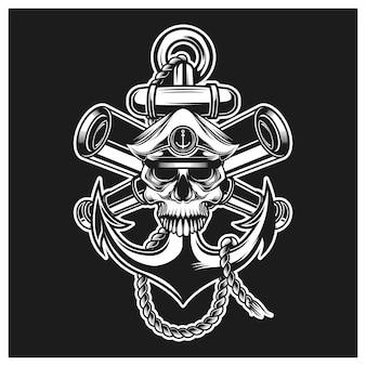 Ancla de cabeza de calavera de capitán, cuerda y binoculares