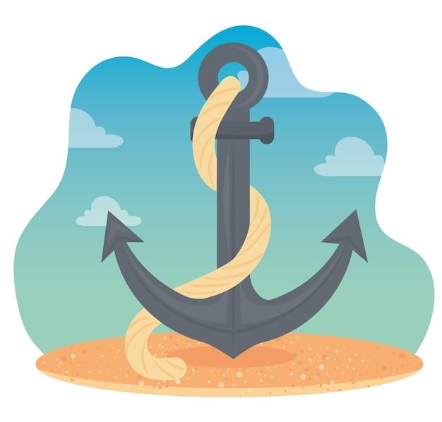 Ancla con cuerda en la playa, diseño de ilustraciones vectoriales