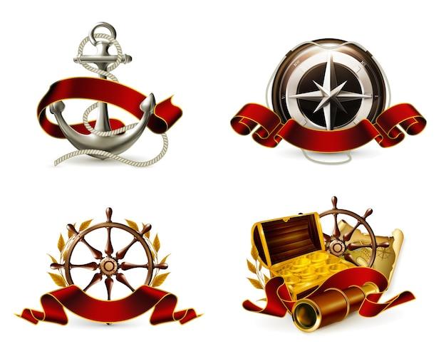 Ancla, mapa del tesoro, brújula, rosa de los vientos, cofre de dinero, emblemas marinos, vectores de iconos