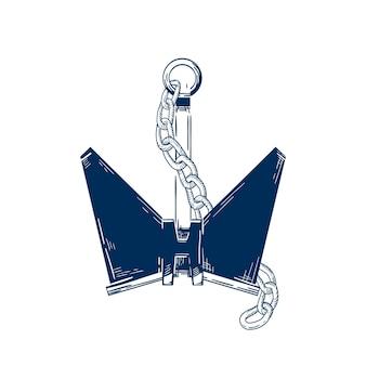 Ancla de la nave con la ilustración de vector de cadena. dispositivo de amarre de embarcación náutica, accesorio de barco, atributo de barco aislado sobre fondo blanco. símbolo de vela monocromo, idea de tatuaje de marinero.