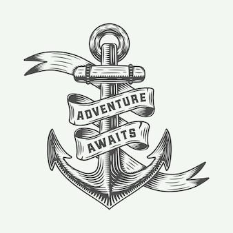 Ancla vintage con tipografía de aventuras.