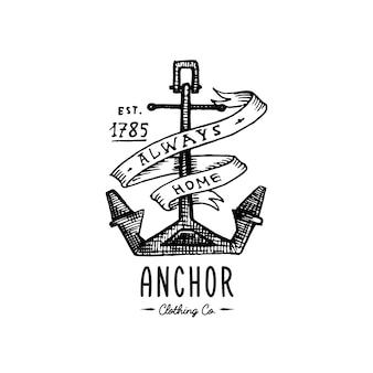 Anclaje grabado vintage en estilo antiguo dibujado a mano o tatuaje, dibujo para tema marino, acuático o náutico, corte de madera, logotipo azul