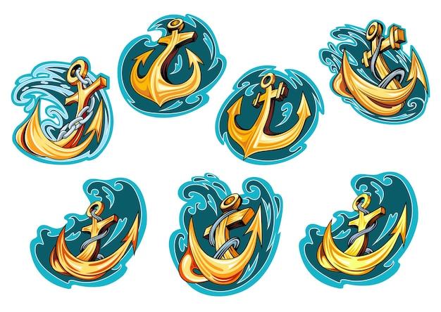 Anclas de dibujos animados amarillos en las olas del océano azul con cadenas y cuerdas para emblemas marinos o diseño de logotipos