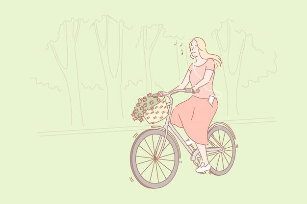 Andar en bicicleta en el concepto de parque