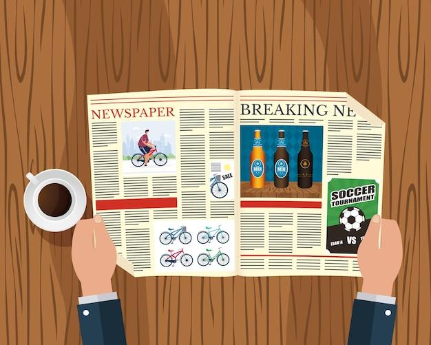 Ands persona leyendo periódicos y bebiendo café ilustración