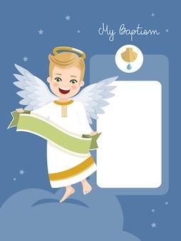 Ángel con cinta. invitación de bautismo con mensaje en cielo azul y estrellas. ilustración vectorial plana