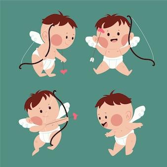 Ángel de cupido con cabello castaño y arco con flechas