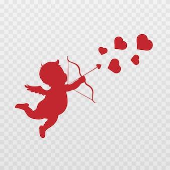 Ángel cupido con una flecha de amor.