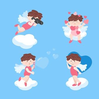 Ángel de cupido siendo juguetón en el cielo el día de san valentín