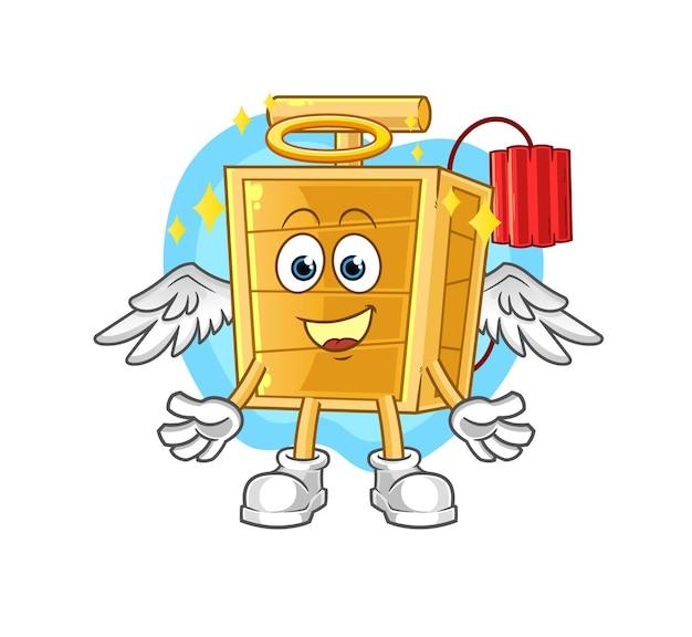 El ángel detonador de dinamita con alas. personaje animado