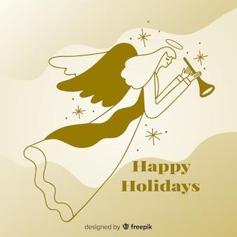 Ángel dorado de navidad cultural
