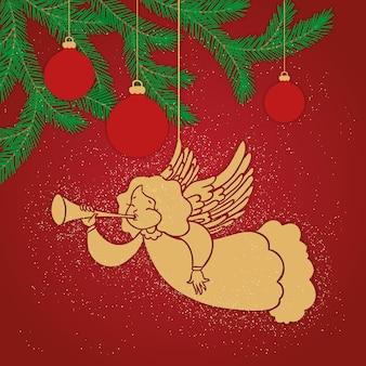 Ángel dorado de navidad