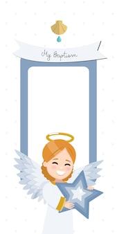 Ángel con una estrella azul. invitación vertical de bautismo con mensaje. ilustración plana