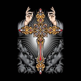 Angel mano con cruz