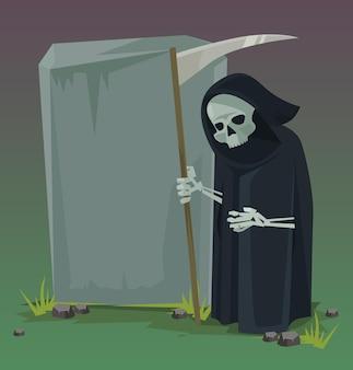 Ángel de la muerte. ilustración de dibujos animados plana