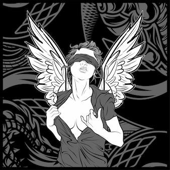 Angel de mujer con dibujo a mano de ala