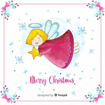 Ángel de navidad adorable en acuarela