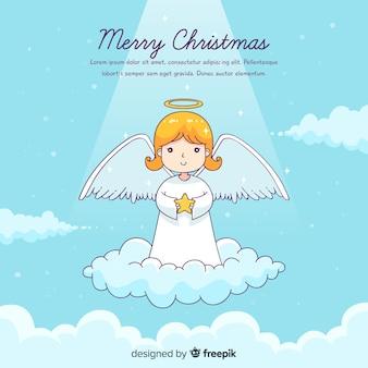 Ángel de navidad adorable dibujado a mano