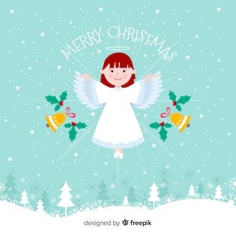 Ángel de navidad adorable con diseño plano