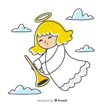 Ángel de navidad dibujado a mano celestial
