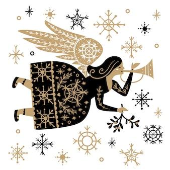 Ángel de navidad dibujado a mano