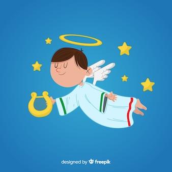 Ángel de navidad en mano dibujado