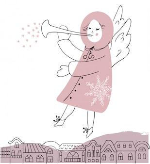 Ángel de navidad con trompeta