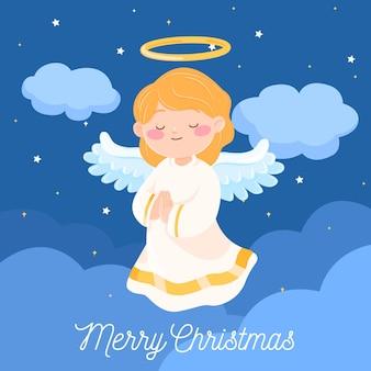 Ángel navideño en diseño plano