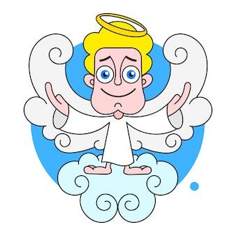 Ángel en la nube con halo en cabeza vector