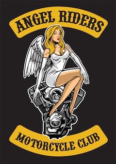 Ángel sexy y motor de moto