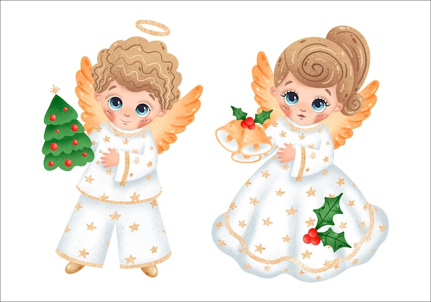 Ángeles de dibujos animados lindo niño y niña con un árbol de navidad, campanas y estrellas en conjunto de ropa blanca