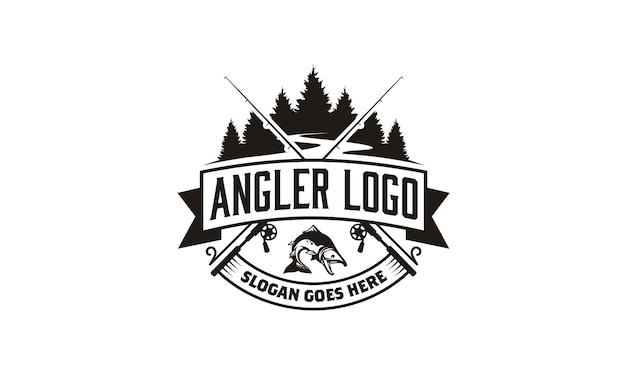 Angler / fishing emblem logo design