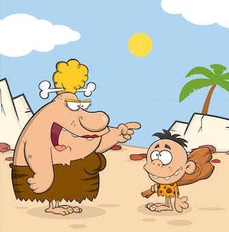 Angry cave woman woman talking to caveman boy. ilustración