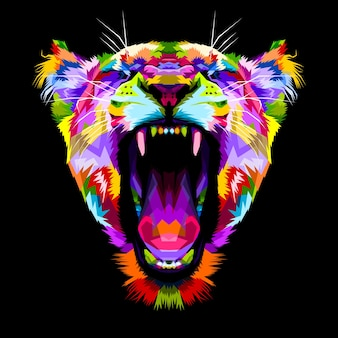 Angry colorful liones en estilo pop art