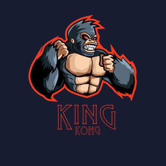 Angry kingkong character sports gaming logo mascota