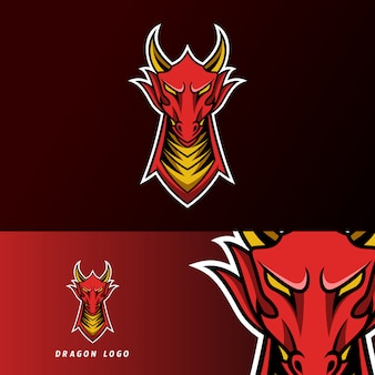 Angry red fly dragon mascot sport gaming esport plantilla de logotipo para streamer squad team club