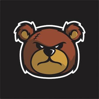 Angry teddy besar cabeza vector