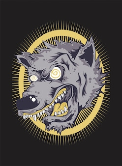 Angry wolf face.vector dibujo a mano