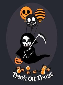Ángulo de la muerte y fondo del globo de halloween.