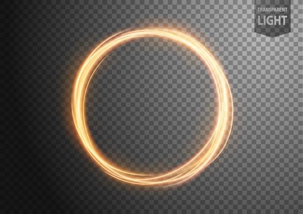 Anillo abstracto de oro línea de luz con fondo transparente.