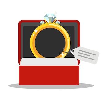 Anillo de boda dorado con diamante en caja roja. joyas caras. ilustración