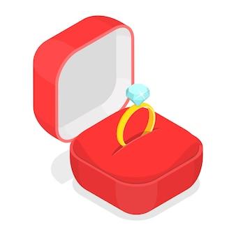 Anillo de bodas en la caja isométrica.