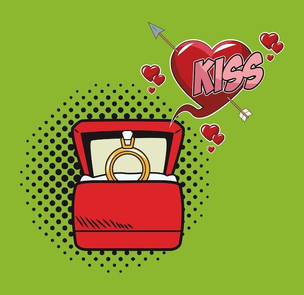 Anillo de bodas en dibujos animados de caja de arte pop