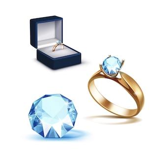 Anillo de compromiso de oro caja de joyas de diamantes claros azul claro brillante
