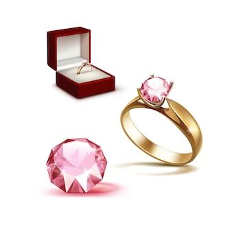 Anillo de compromiso de oro diamante rosa en joyero rojo