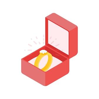 Anillo de diamantes de boda en una caja. ilustración vectorial.