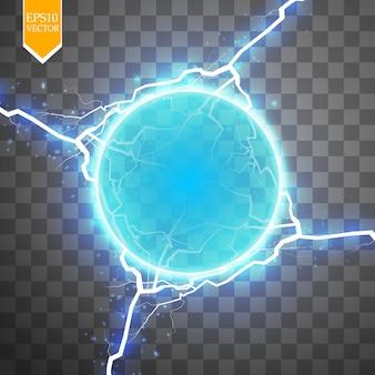 Anillo de energía azul con un rayo abstracto sobre fondo transparente