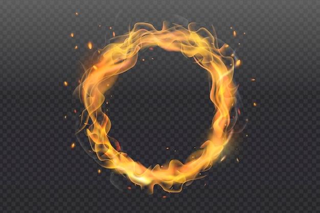 Anillo de fuego realista con fondo transparente