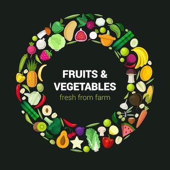 Anillo de hortalizas de granja de frutas vegetales colección de alimentos