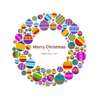 Un anillo de juguetes de colores en un estilo plano sobre un fondo blanco. una hermosa tarjeta de felicitación de navidad.